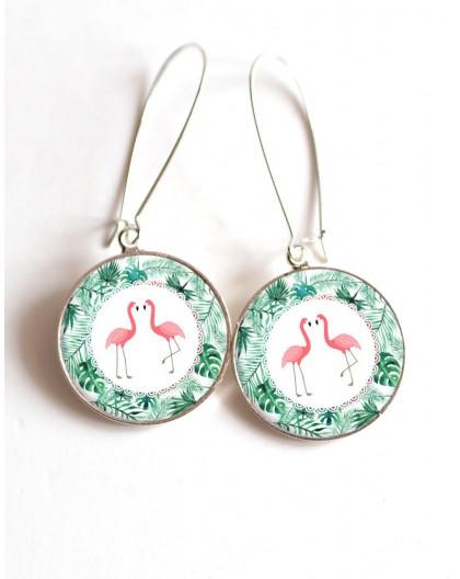 Boucles d'oreilles, Couple de Flamants rose, feuilles vertes exotique, cabochon résine epoxy