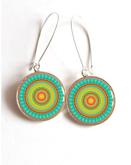Boucles d'oreilles, Mandala, Mantra, turquoise et oragne, cabochon résine epoxy