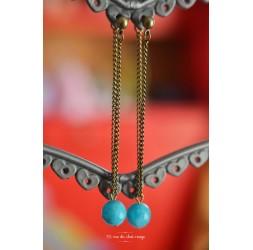 Boucles d'oreilles pendantes, perles de Jade, bleu mer, bronze