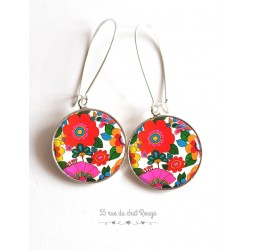 Earrings, Year 70, Kitch, supra colorful flowers cabochon epoxy resin