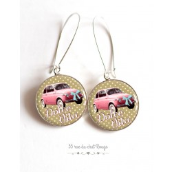 Earrings, Dolce Vita, Fiat 500 pink cabochon epoxy resin