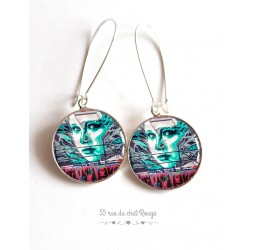 Earrings, turquoise and red graffiti cabochon epoxy resin