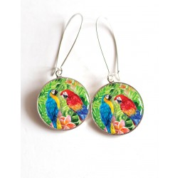 Earrings, exotic Parrot Couple cabochon epoxy resin