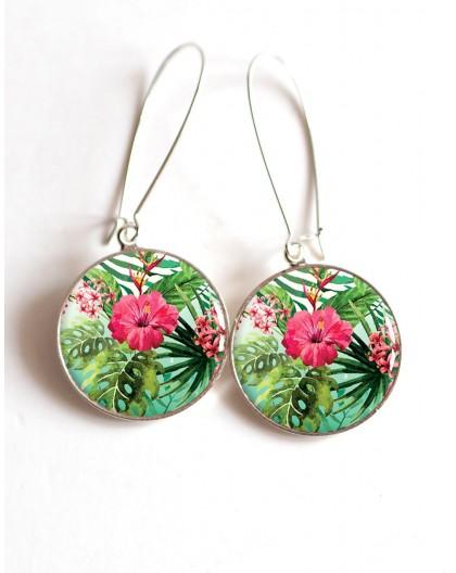 Boucles d'oreilles, Grande fleur d'Hibiscus fushia, cabochon résine époxy