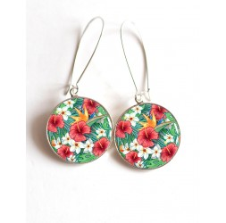 Earrings, Hibiscus Flower fuchsia and white cabochon epoxy resin
