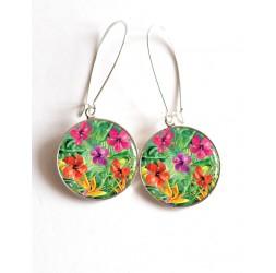 Orecchini, fiori di ibisco, fiori esotici, cabochon epossidiche