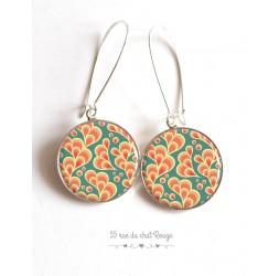Ohrringe, Arabesque Muster, orange und grün Wasser, Japan, Epoxy-Cabochon
