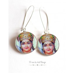 Earrings, Hindu God Vishnu, cabochon epoxy resin