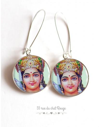 Boucles d'oreilles, Dieu Vishnu Hindou, cabochon résine époxy