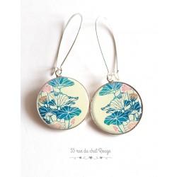 Ohrringe, Blume Große blaue und rosa, beige, Japan, Epoxy-Cabochon