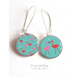 Earrings, asymmetrical, Flamingo, turquoise cabochon epoxy resin