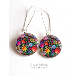 Earrings, Russian Folklore Pattern, multicolor floral cabochon epoxy resin