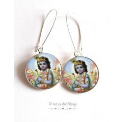 Boucles d'oreilles, Shiva, dieu Hindou,  cabochon résine époxy