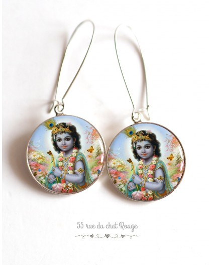 Earrings, Shiva, Hindu god, cabochon epoxy resin