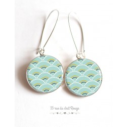 Earrings, Seigaiha soft blue and green, Japan, cabochon epoxy resin