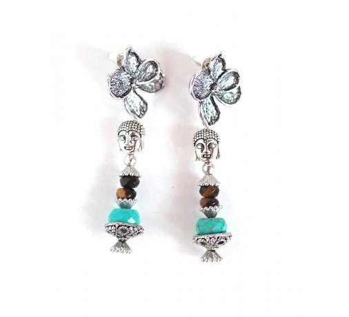 boucles d'oreilles Bouddha bleu argent