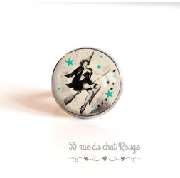 Cabochon ring, silver, Pin-up, year 60's