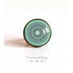 Bague cabochon, Esprit Marocain, rosace sur fond bleu pastel, 20 mm, bronze
