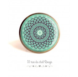 Cabochon ring, Spirit Moroccan rose on pastel blue background, 25 mm, Bronze