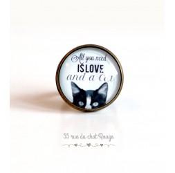 """Anello Cabochon, chat, messaggio """"Tutto ciò che serve è amore"""", 20 mm, bronzo"""