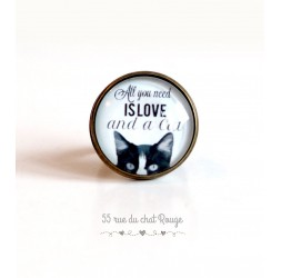 "Bague cabochon, Chat, message ""All you need is love"", 20 mm, bronze"