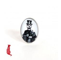 Cabochon Ring, gotische Geist, muerta, 18x25 mm, silber