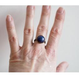 Anello Cabochon, pietra naturale lapislazzuli, blu, bronzo