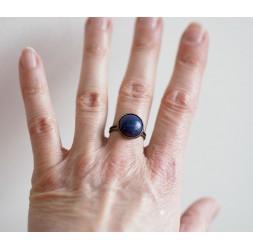 Cabochon Ring, Naturstein Lapislazuli, blau, Bronze