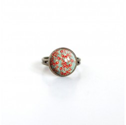 Anello Cabochon, Fleurette rosso, verde, primavera, bronzo