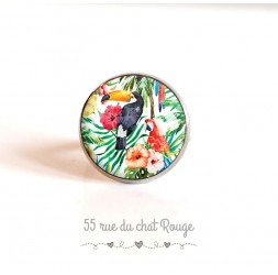 Bague cabochon, OIseaux, Toucan, perroquet, végétation exotique, 18 mm, argentée