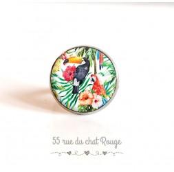tapa del anillo, pájaros, tucán loro exótica vegetación, 18 mm, plata