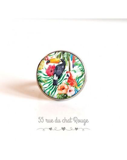 Ring cap, birds, Toucan parrot exotic vegetation, 18 mm, silver