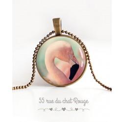 cabochon pendant necklace, Flamingo, pastel, bronze