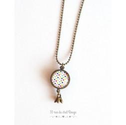 Lange Halskette, Anhänger Dual cabochoh, mehrfarbiger kleiner Stern