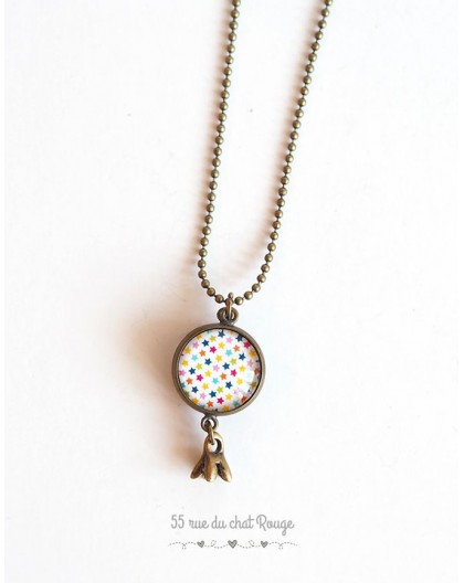 Long necklace, pendant dual cabochoh, multicolor small stars
