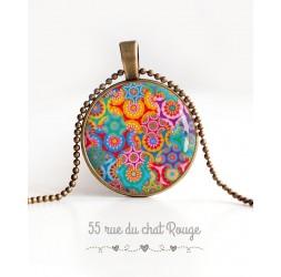 cabujón collar pendiente, Bohemia Espíritu, floral multicolor, bronce
