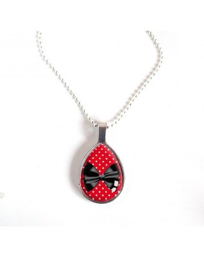 Collier pendentif goutte, Noeud papillon noir et rouge, bronze ou argenté