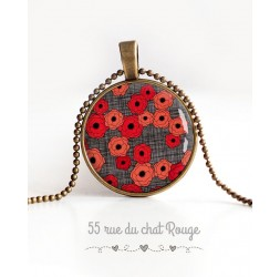 cabochon pendant necklace, Poppies red and gray, bronze
