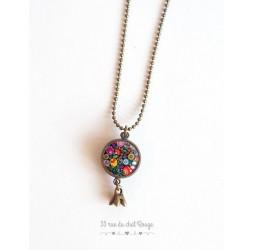 Lange Halskette, Anhänger dual Cabochon russische Foklore, Blumenmehrfarben