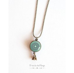Long necklace, pendant dual cabochon rose on pastel blue