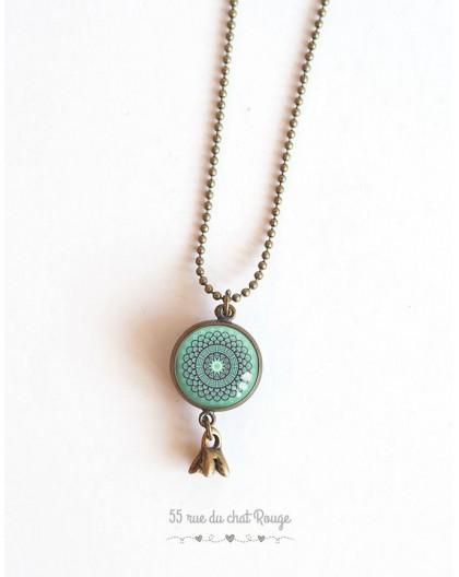 Long necklace, pendant dual cabochon rose on pastel blue