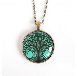 Cabochon Halskette, Baum des Lebens, grüne Ente, Bronze