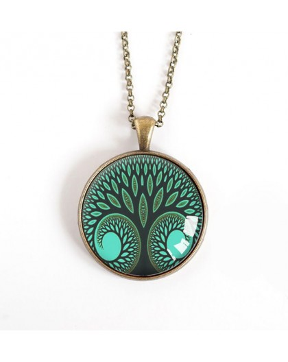 cabochon pendant necklace, Tree of Life, green duck, bronze