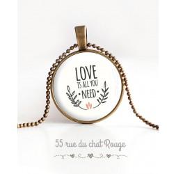 cabujón colgante de collar, el mensaje de amor es todo lo que necesita, bronce