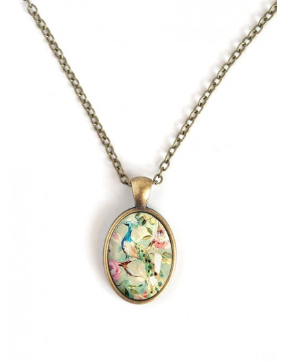 Necklace oval cabochon, Peacock retro, shabby chic spirit, bronze