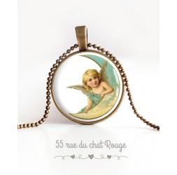 collana pendente cabochon, Cherubino, Luna, pastello, bronzo