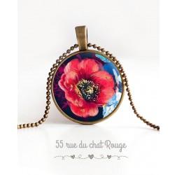 collana pendente cabochon, grande rosso papavero sbocciato, blu notte, bronzo