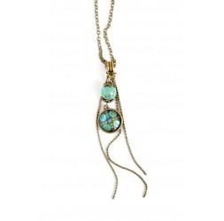 collana pendente cabochon, messico ispirazione, patchwork toni del verde e turchese, bronzo
