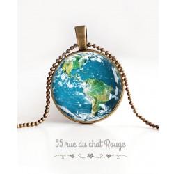 collana pendente cabochon, Pianeta Terra, Blue Planet, bronzo