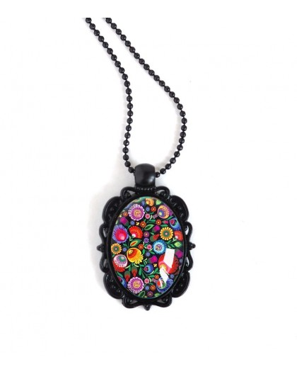 Black Pendant Necklace, oval cabochon, flowery, ruesse folklore, colorful, black